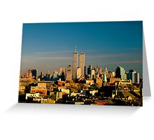 World Trade Center seen from New Jersey Turnpike. Mid 1980's. Greeting Card