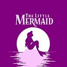 Ariel the Little Mermaid silhouette with moon ~Pink by sweetsisters