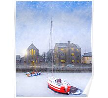 Winter On The Claddagh Quay in Galway Ireland Poster