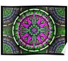 Green and Purple Celtic Knot Tapestry Colorful Psychedelic Design - Beautiful Celtic Knotwork Poster Poster