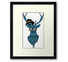 Deer hipster in glasses, hand drawn style 2 Framed Print
