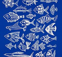 White Inked Fish on Navy by Cat Coquillette