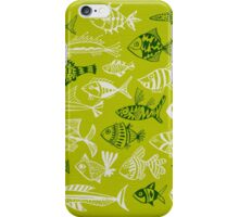 Inked Fish on Lime Green iPhone Case/Skin