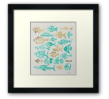 Gold & Turquoise Inked Fish Framed Print