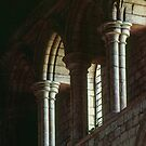 Window arches in wall of church Lanercost Priory Cumbria England 198405260020  by Fred Mitchell