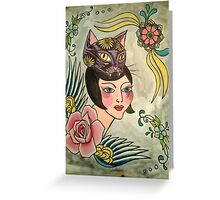 Crazy Cat Lady and the Flying Rose Greeting Card