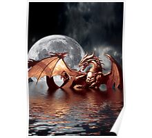 Dragon Moon Fantasy Art Design Poster