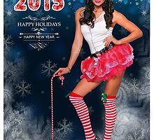 Sexy Santa's Helper postcard wallpaper template design for 2015 by Anton Oparin