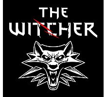 The Witcher Wolf Symbol and text white Photographic Print