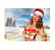 Sexy Santa's Helper girl great image for creating Holiday Greeting postcards or computer wallpapers Art Print