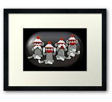 ☝ ☞ THE THREE MONKEYS PLUS ONE,MIZARU,MIKAZARU,MAZARU,& SHIZARU THE GOLDEN CARD/PICTURE ☝ ☞ Framed Print