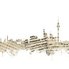 Berlin Germany Skyline Sheet Music Cityscape by Michael Tompsett