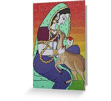 Woman with deer Greeting Card