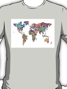 Text Map of the World T-Shirt