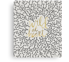 Wild at Heart – Gold & Black on White Canvas Print