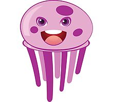 Cute cartoon pink jellyfish Photographic Print