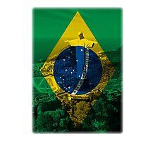 Brazil flag plus scenery Photographic Print
