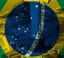Brazil flag plus scenery Sticker