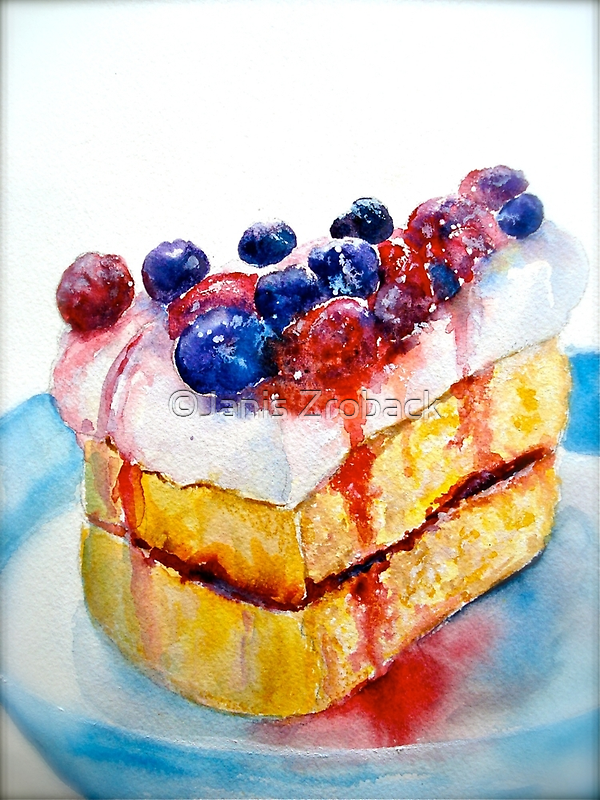 Delicious....Lucious Layer Cake with Berries and Whipped Cream by ©Janis Zroback