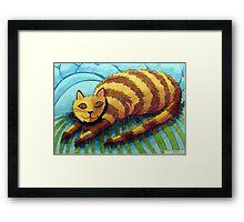 413 - STRIPEY CAT - DAVE EDWARDS - COLOURED PENCILS - 2014 Framed Print
