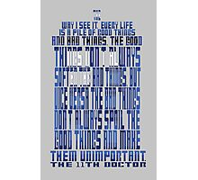 TARDIS Quote: The 11th Doctor Photographic Print