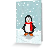 Penguin in the snow Greeting Card
