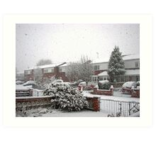 Falling Thick and Fast -  Winter Street Scene Art Print