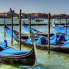 Gondolas across from Le Zitelle by Tom Gomez
