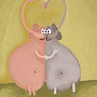 elephants kissing by Anastasiia Kucherenko
