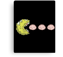 Zombie Pac Man Eating Brains Mash Up Canvas Print