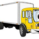 Large Yellow White Delivery Truck Cartoon by Graphxpro