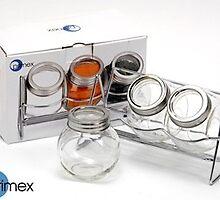 Primex 4 Piece Spice Jar Set Glass Metal Kitchen Spices Rack Food Jars NEW by etailme