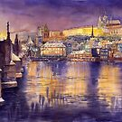 Prague Charles Bridge and Prague Castle with the Vltava River by Yuriy Shevchuk