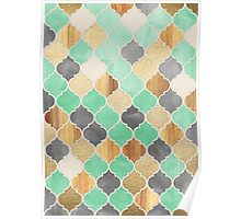 Charcoal, Mint, Wood & Gold Moroccan Pattern Poster