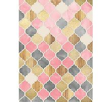 Silver Grey, Soft Pink, Wood & Gold Moroccan Pattern Photographic Print