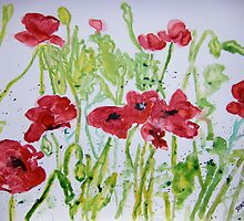 poppy flower yupo painting by derekmccrea