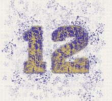Abstract Twelve Paint Splatter - Gold On Purple by EmeraldRaindrop