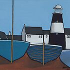 Three blue boats by bursnall
