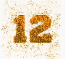 Abstract Twelve Paint Splatter - Brown On Orange by EmeraldRaindrop