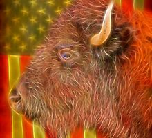 American Bison Headshot Flag by Bo Insogna