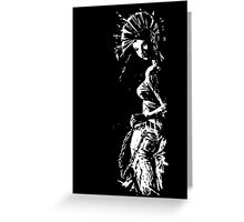 black and white Punk Girl Greeting Card