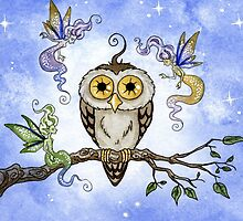 Hootie the Owl Meets Some Faeries by AmyBrownArt