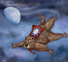 Phil Groundhog Superhero  by Kim  Harris