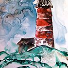 Sapelo Island Lighthouse watercolor on yupo paper by derekmccrea