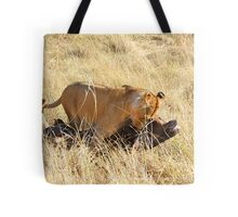 Lioness with Cubs, Moving a Wildebeest Kill, Maasai Mara, Kenya  Tote Bag
