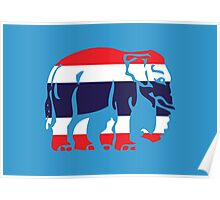 Asian Elephant Crossing Thai Flag Traffic Sign Poster