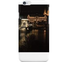 Chain bridge of Budapest at night iPhone Case/Skin