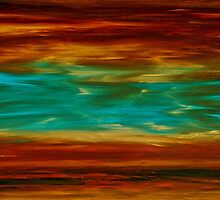 Abstract Landscape Art - Fire Over Copper Lake - By Sharon Cummings by Sharon Cummings