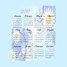 2015 Blue Floral Calendar Prints, Skins and Totes by Vickie Emms