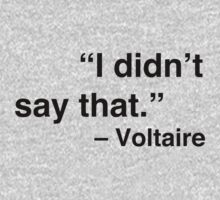 """I didn't say that."" - Voltaire by Nicole Petegorsky"